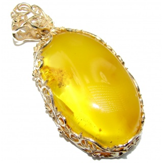 Huge Natural Baltic Amber The gold of the North 18K Gold over .925 Sterling Silver handmade Pendant