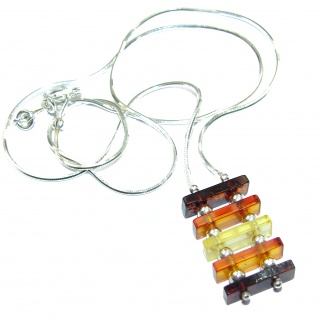 Natural Beauty Multicolor Baltic Amber .925 Sterling Silver handmade necklace