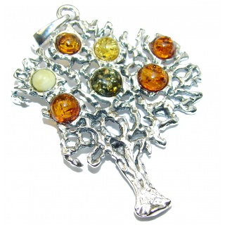 Three Natural Baltic Amber .925 Sterling Silver handmade Pendant