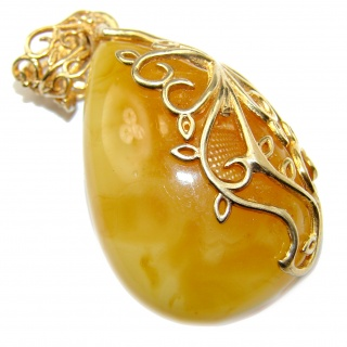 Natural Baltic Butterscotch Amber 14K Gold over .925 Sterling Silver handmade Pendant