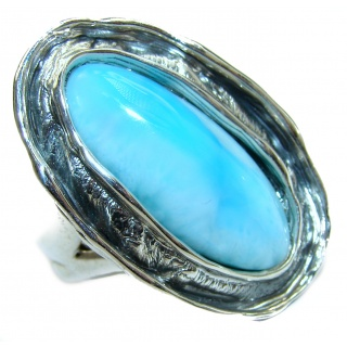 Huge Perfect Larimar .925 Sterling Silver handmade Ring s. 7 adjustable