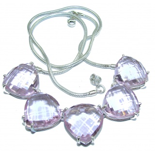 Sweet Norwegian Pink Fiord Quartz .925 Sterling Silver handmade necklace