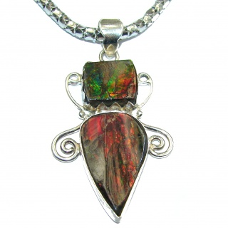 Huge Natural Canadian Ammolite .925 Sterling Silver handmade necklace