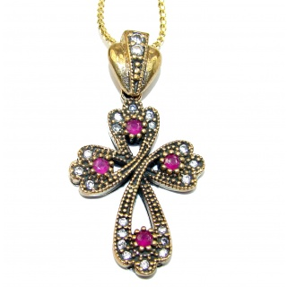 Cross created Ruby .925 Sterling Silver handmade Necklace