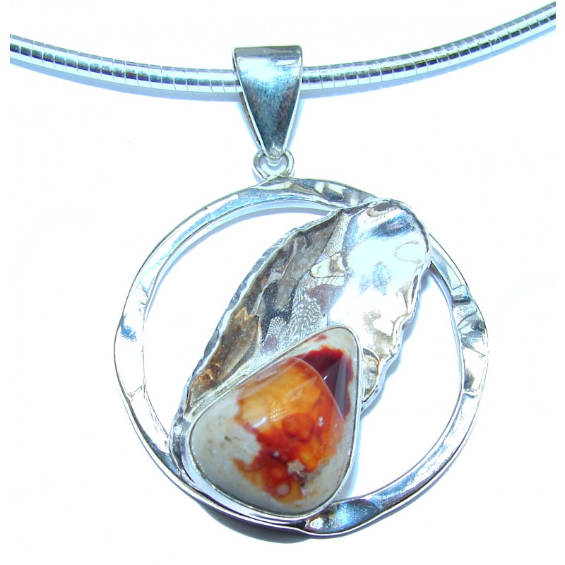 Mexican Fire Opal .925 Sterling Silver handmade Necklace