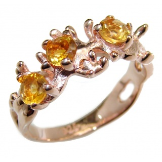 Vintage Style Natural Citrine 14k Gold over .925 Sterling Silver handcrafted Ring s. 6 1/4