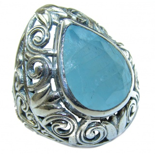 Blue Treasure Aquamarine .925 Sterling Silver handmade ring s. 6