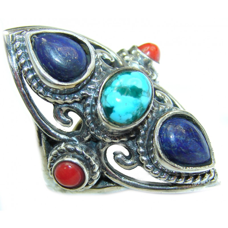 Huge Turquoise .925 Sterling Silver handcrafted ring; s. 9