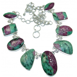 Fantastic quality Ruby in Zoisite .925 Sterling Silver handmade Necklace