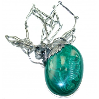 Silver Bee Best Quality Rare Genuine Malachite oxidized .925 Sterling Silver handmade necklace