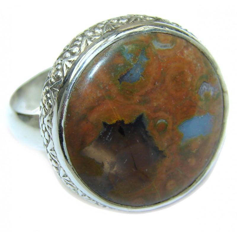 Natural Moss Agate .925 Sterling Silver handmade ring s. 7 1/2