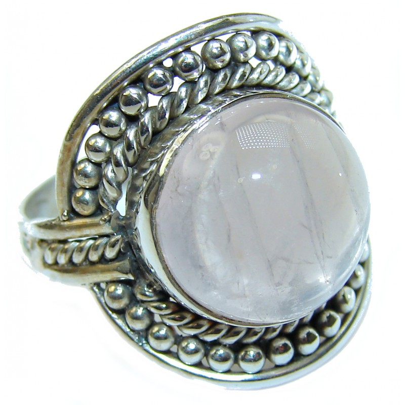 Best Quality Rose Quartz .925 Sterling Silver handcrafted ring s. 8 1/4