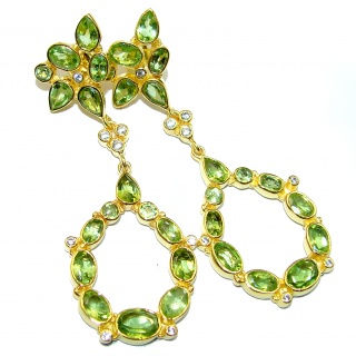 Impressive genuine Peridot 14k Gold over .925 Sterling Silver handmade earrings