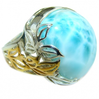 HUGE Natural Larimar .925 Sterling Silver handcrafted Ring s. 8 adjustable