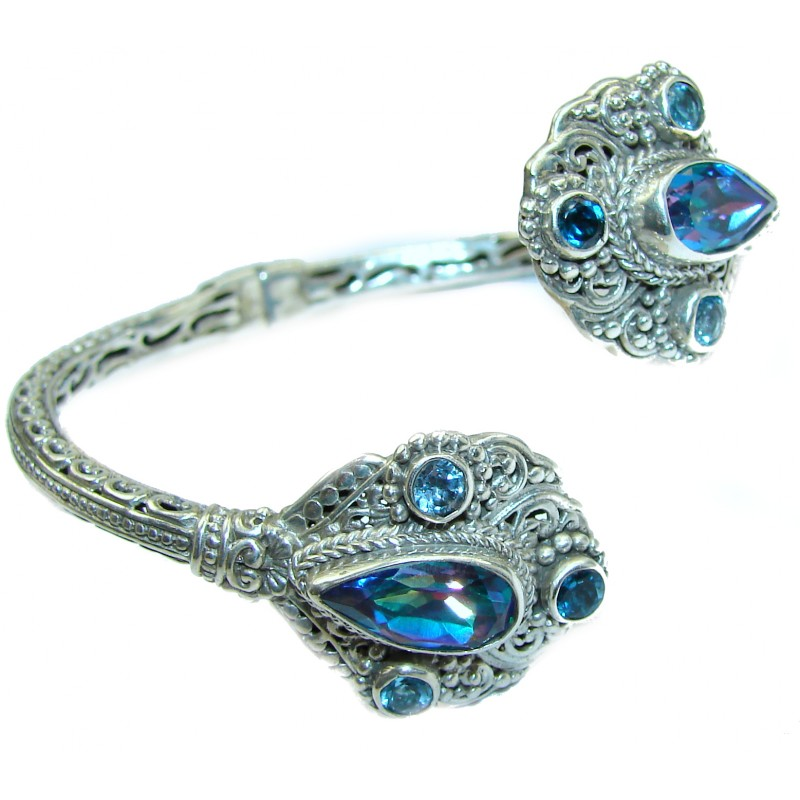 Chunky Luxury Blue Magic Topaz .925 Sterling Silver handmade Cuff/Bracelet