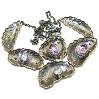 Golden Reef Amethyst Rose Gold Rhodium over .925 Sterling Silver handcrafted necklace