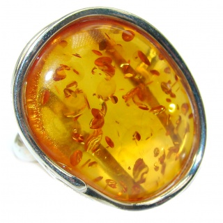 Huge Genuine Baltic Amber .925 Sterling Silver handmade Ring size 9 1/4