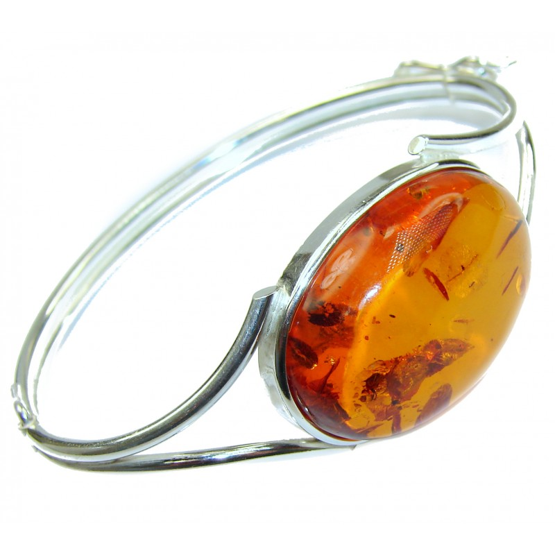 Wonderful genuine Baltic Amber Sterling Silver handmade Bracelet / Cuff