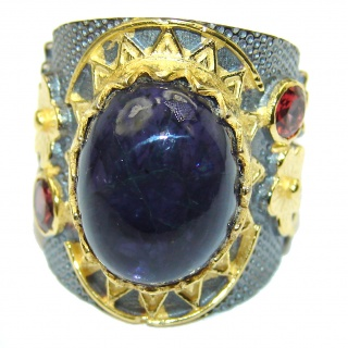 Chunky Authentic Australian Tanzanite .925 Sterling Silver handmade Ring s. 6