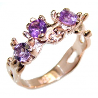 Spectacular Amethyst .925 Sterling Silver handcrafted Ring size 6