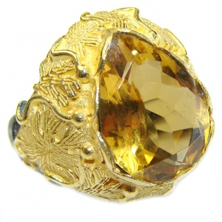 Vintage Style 25ct Natural Citrine 14ct Gold over .925 Sterling Silver handcrafted Ring s. 6 1/4