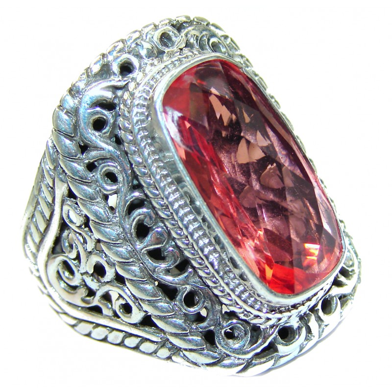 Top Quality Raspberry Topaz .925 Sterling Silver handcrafted Ring s. 10