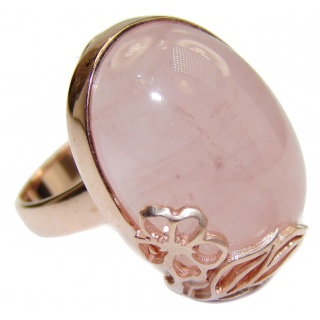 Best Quality Rose Quartz Rose Gold over .925 Sterling Silver handcrafted ring s. 7 1/2