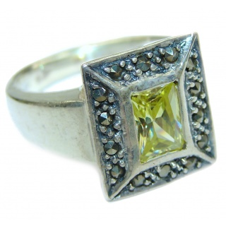 Ultra Fancy Cubic Zirconia .925 Sterling Silver Cocktail ring s. 6 1/4