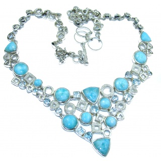 Ocean Halo genuine Larimar Swiss Blue Topaz .925 Sterling Silver handmade necklace