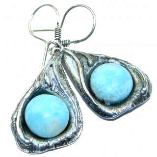 Huge Precious genuine Blue Larimar .925 Sterling Silver handmade earrings