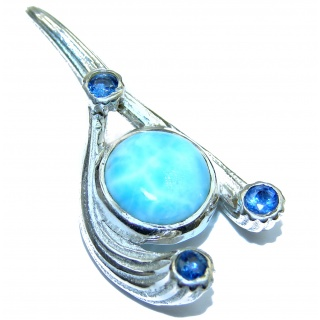 Perfectly Blue Larimar .925 Sterling Silver handmade pendant