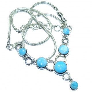 Great Masterpiece genuine Larimar .925 Sterling Silver handmade necklace