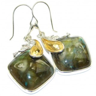 HUGE Perfect genuine Labradorite 14 Gold over .925 Sterling Silver handmade earrings