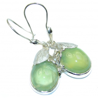 Rustic Design Authentic Moss Prehnite .925 Sterling Silver handmade earrings