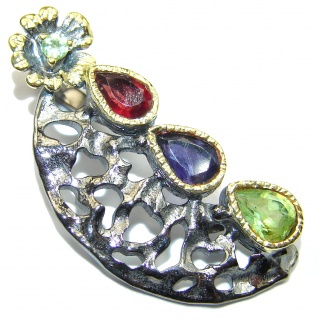 Precious multigem Rhodium over .925 Sterling Silver handcrafted Pendant