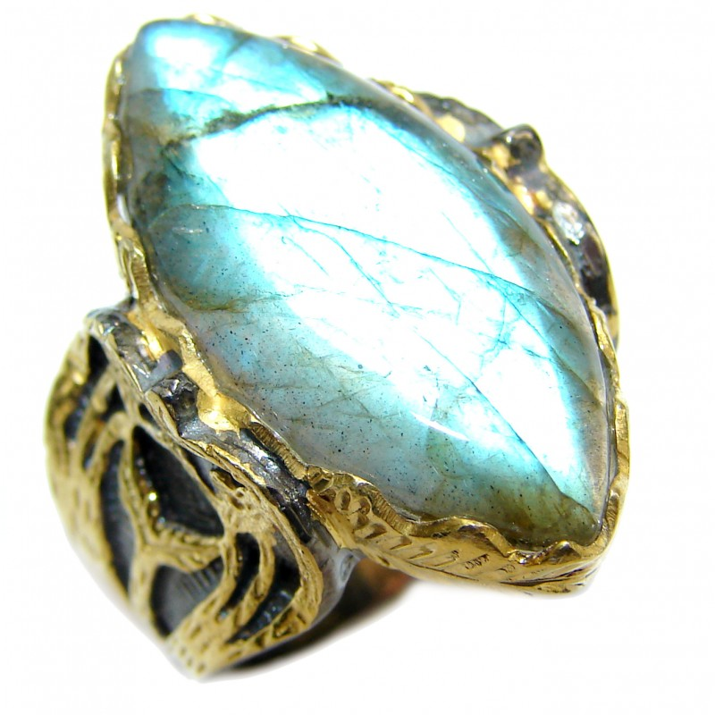Regal Infinity Labradorite 18K Gold over .925 Sterling Silver ITALY handmade ring size 6 3/4