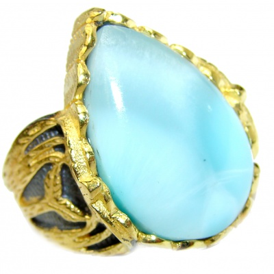 Vintage Design Natural Larimar .925 Sterling Silver handcrafted Ring s. 6 1/4