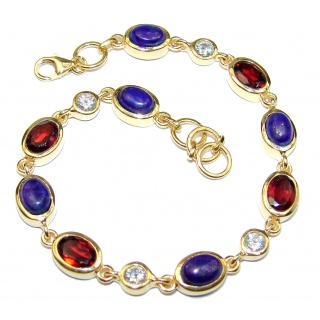 Huge One of the kind genuine Multigem 14K Gold over .925 Sterling Silver Bracelet