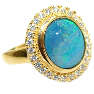Australian Doublet Opal 14K Gold over .925 Sterling Silver handcrafted ring size 8 1/4