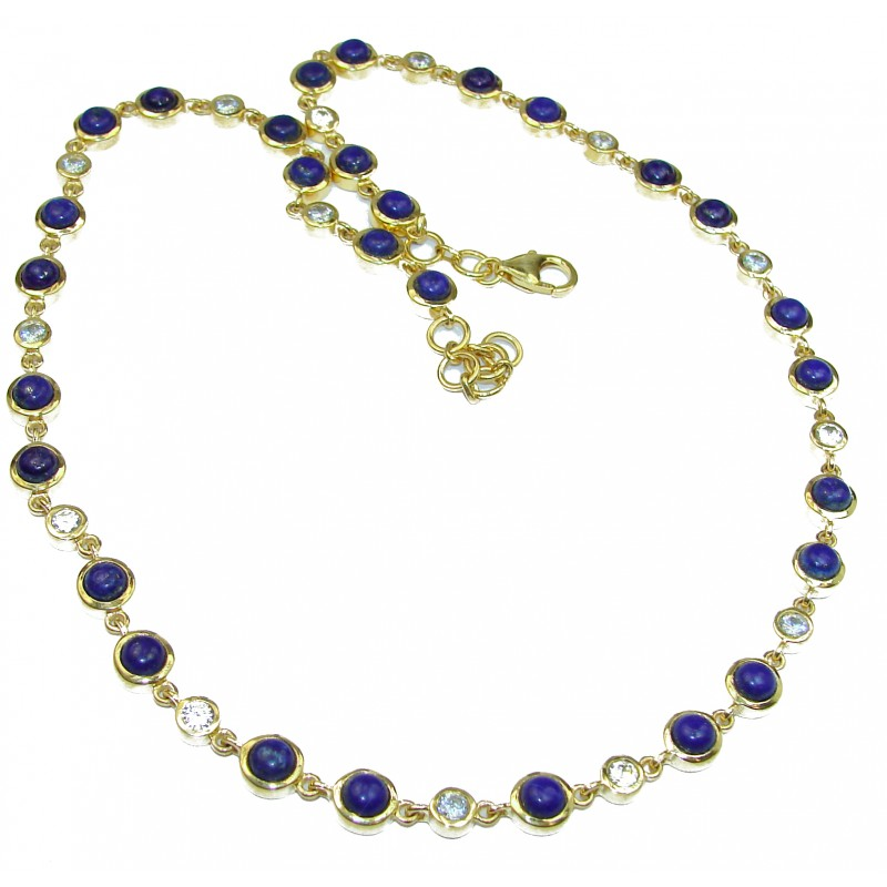 Great Masterpiece genuine Lapis Lazuli 14K Gold over .925 Sterling Silver handmade necklace