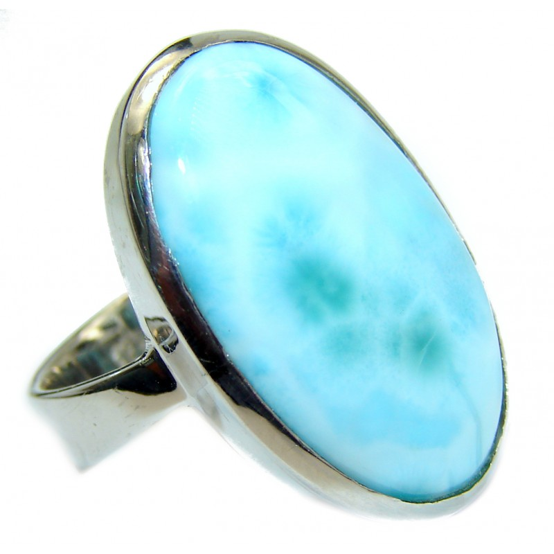 Natural Larimar .925 Sterling Silver handcrafted Ring s. 6 1/4
