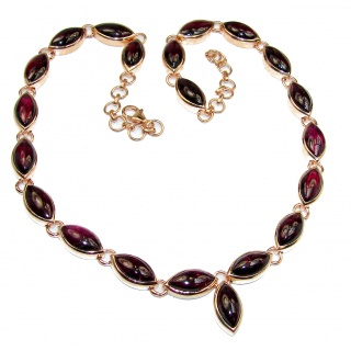 Great Masterpiece genuine Garnet 14K Gold over .925 Sterling Silver handmade necklace
