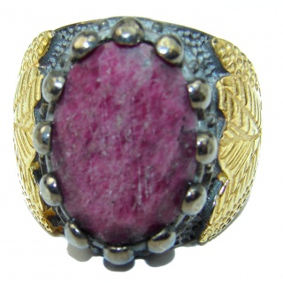 Vintage Design Genuine 25ct Ruby 14K Gold over .925 Sterling Silver handmade Ring size 8 1/4