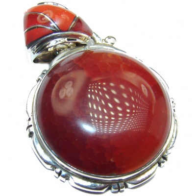 Sunset Mexican Fire Agate .925 Sterling Silver handmade Pendant