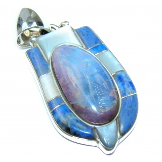 Incredible Design Authentic Australian Boulder Opal .925 Sterling Silver handmade Pendant