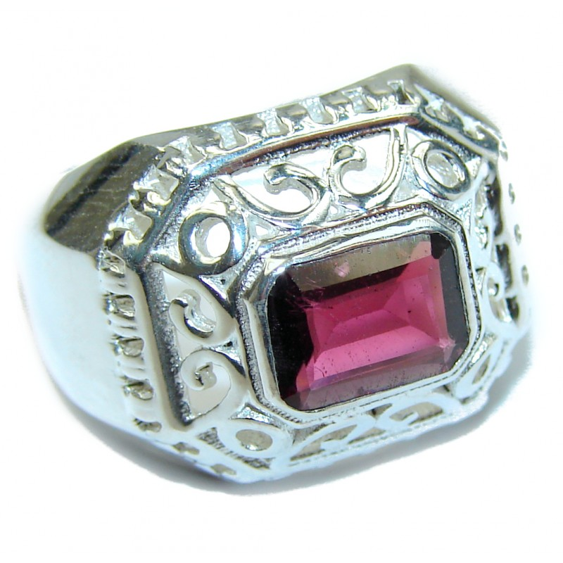 Genuine Garnet .925 Sterling Silver handmade Cocktail Ring s. 7