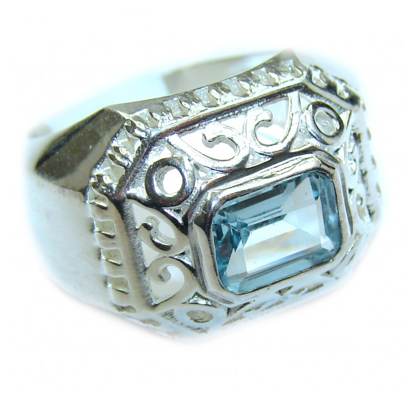 Energazing Swiss Blue Topaz .925 Sterling Silver handmade Ring size 8