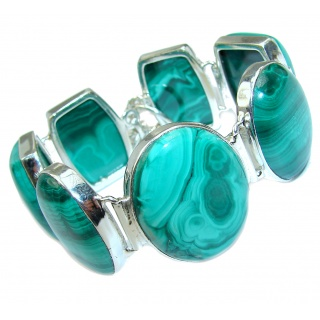 Green Wildness authentic Malachite .925 Sterling Silver handcrafted Bracelet