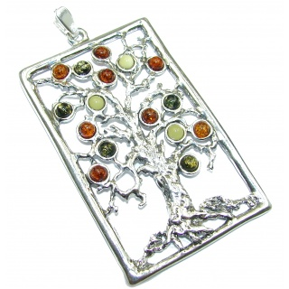 HUGE Family Tree Design Polish Amber .925 Sterling Silver handcrafted Pendant