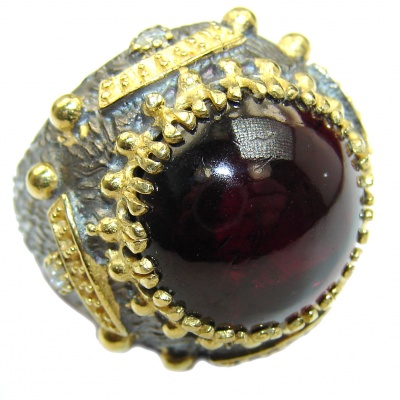 Genuine 28 ct Garnet 14ct Gold over .925 Sterling Silver handmade Cocktail Ring s. 6